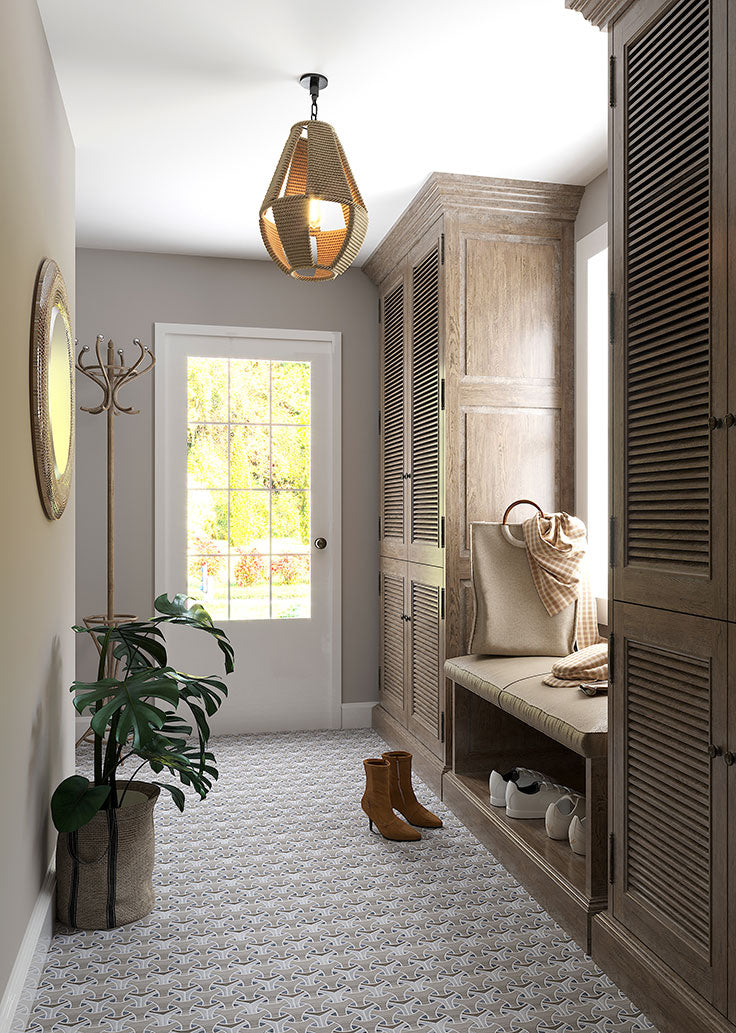 Stunning Entryway Design with Marble Tiles in a Mid Century Modern Pattern