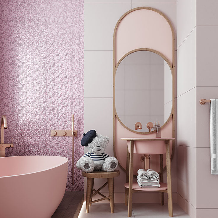 Pink Gemstone Look Glass Tile Wall for a Girl's Bathroom