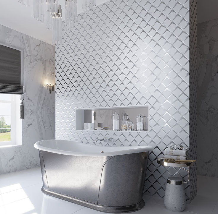 Frosted White Diamond Bathroom Wall for a Luxurious yet Modern Bathtub Surround with Contemporary Style