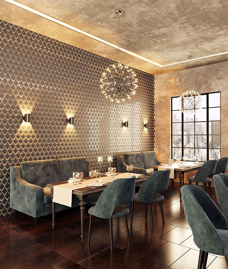 Restaurant Design for an Upscale Bistro with a Statement Glass Mosaic Tile Wall