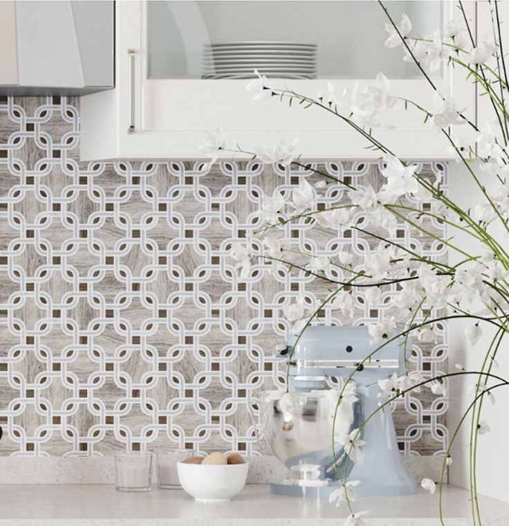 French Country cottage charm meets modern sophistication with a wood look marble mosaic tile