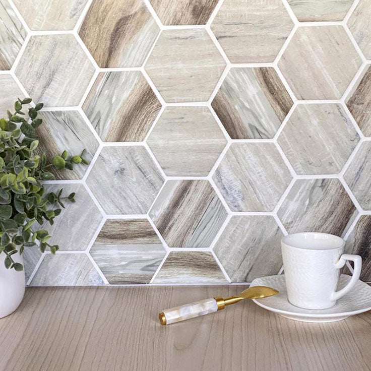 Combine a Wood Grain Pattern with Recycled Glass Hexagon Tiles for a Modern Cottagecore Kitchen Backsplash