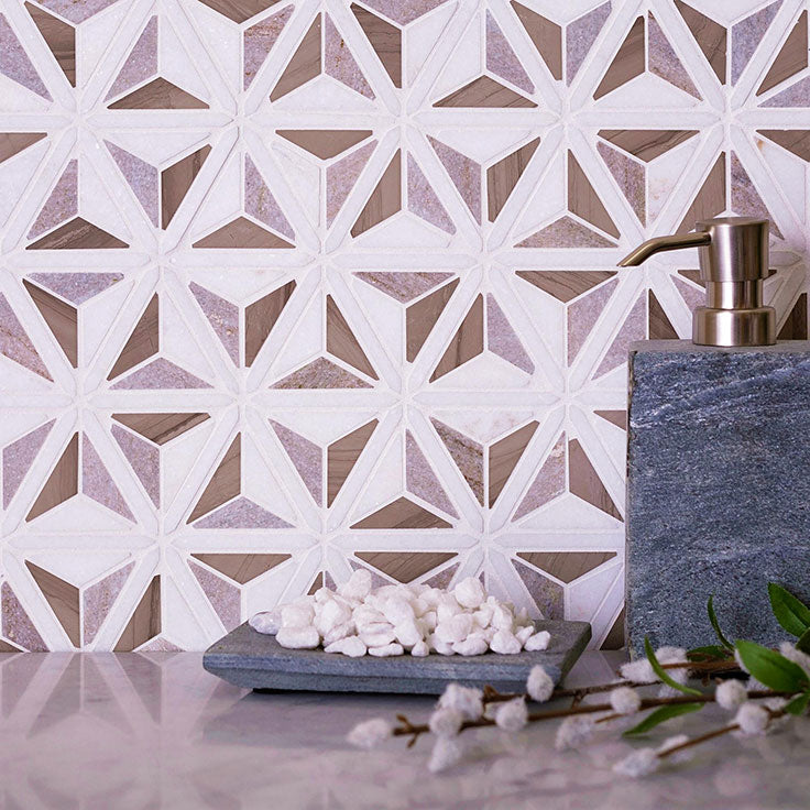 Mosaic Tile with a 3D Shading Effect and Mid-Century Modern Style