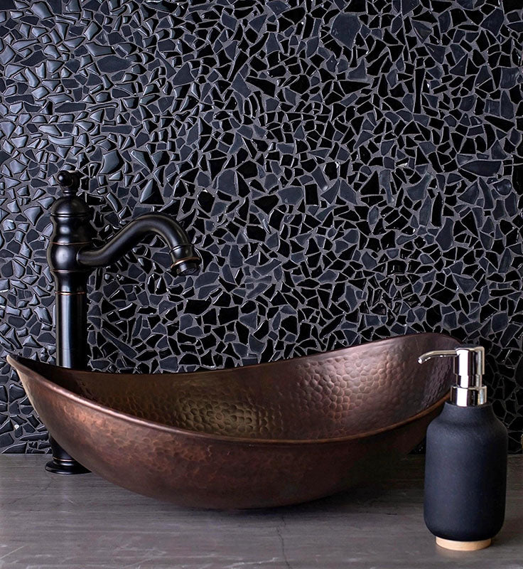 Black Diamond Glass for a Jewelry Box Bathroom with Masculine Style