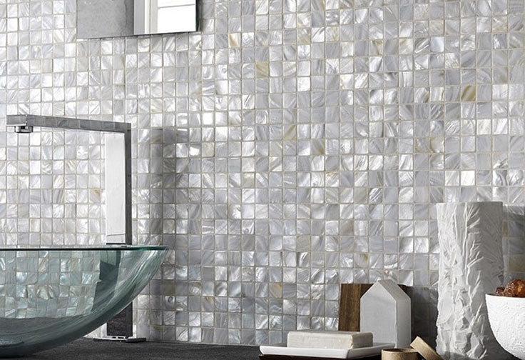 Add shimmer and iridescent shine with Mother of Pearl shell tiles!