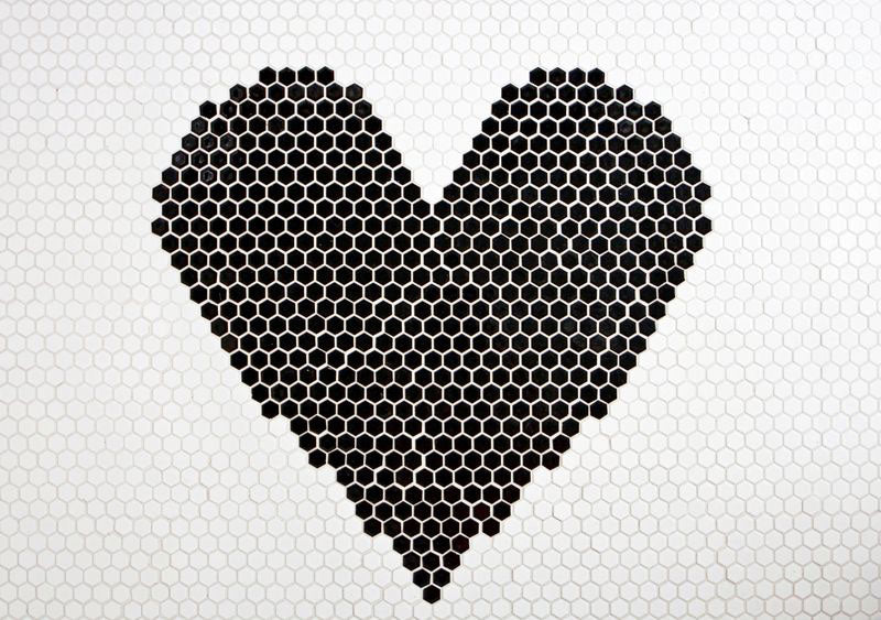 Heart Floor Detail in Black and White Hexagon Tiles