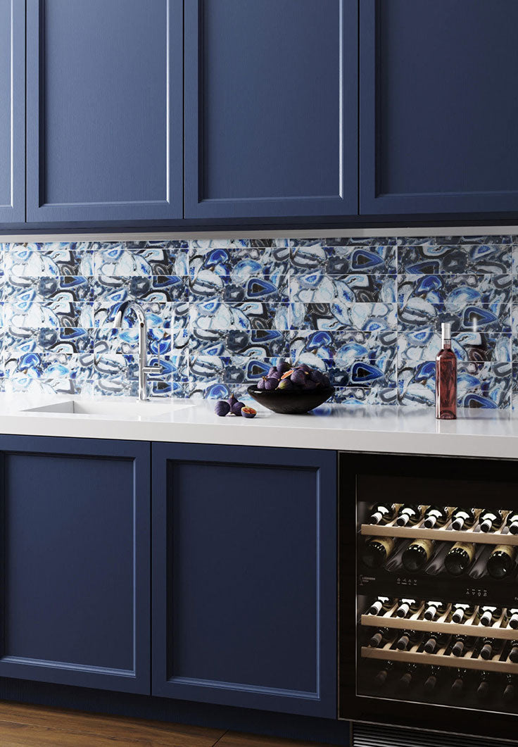 Colorful Home Bar with Agate and Geode Patterned Glass Tiles