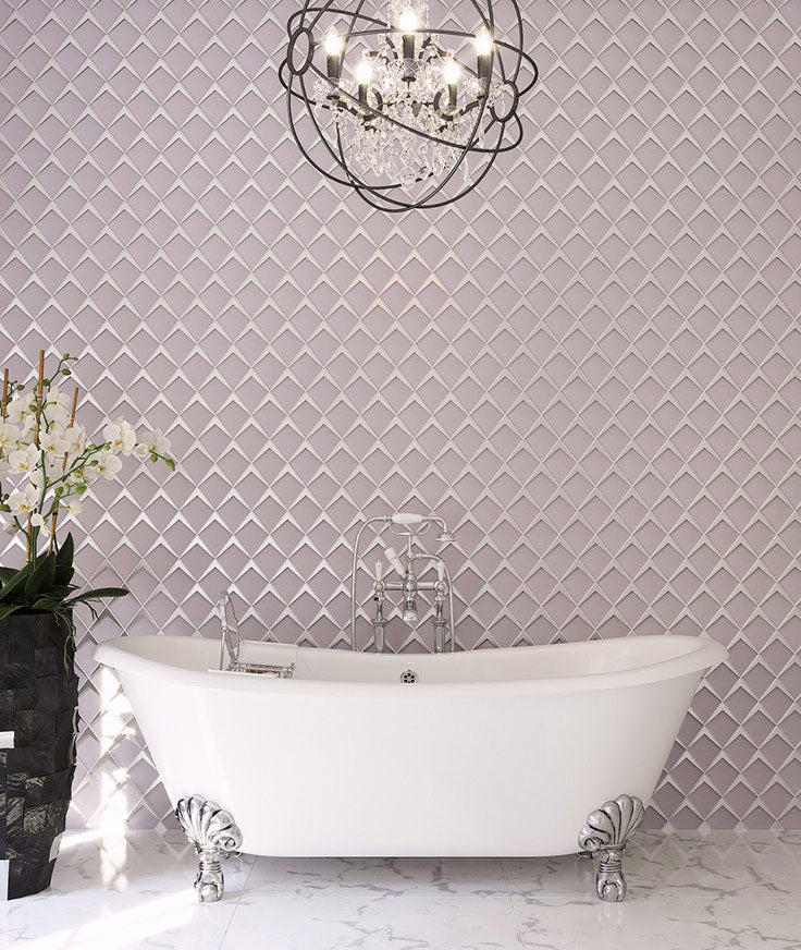 Add a sparkle of mid-century glamour to your bath this year with a frosted diamond glass mosaic tile from Tile Club!