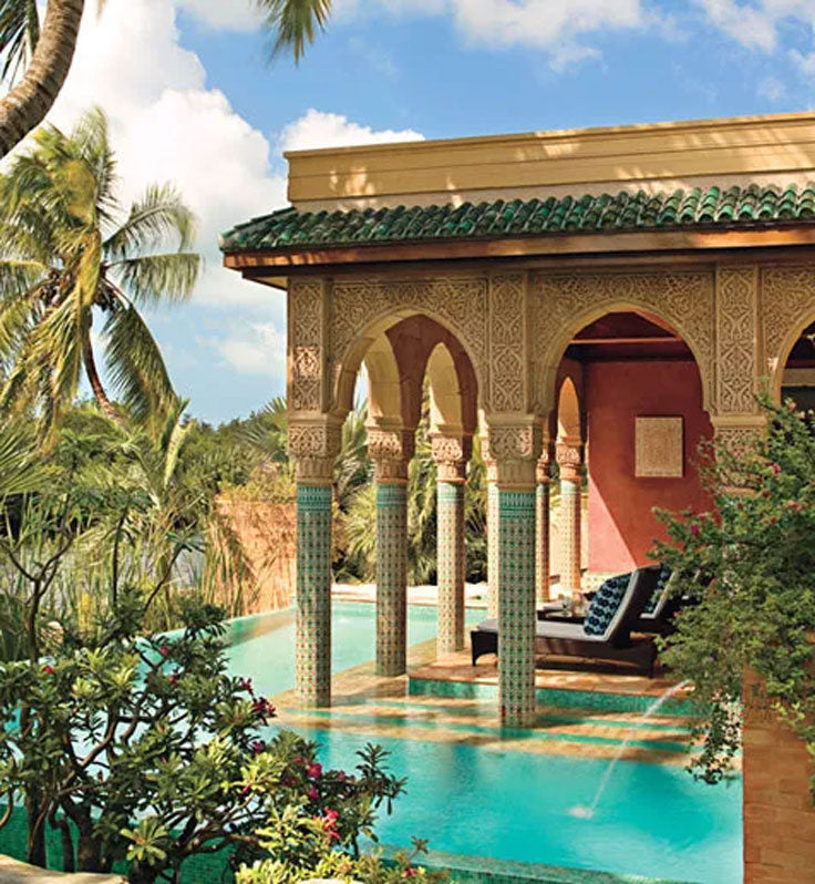 Moroccan Villa with a Turquoise Blue Pool