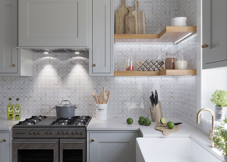 Neutral Kitchen Design with Marble Tile Backsplash for a Cozy Place to Cook