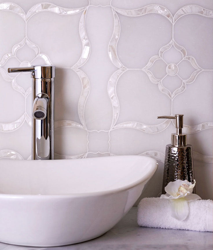 Marble and Pearl Waterjet Tiles for a White Jewelry Box Bathroom