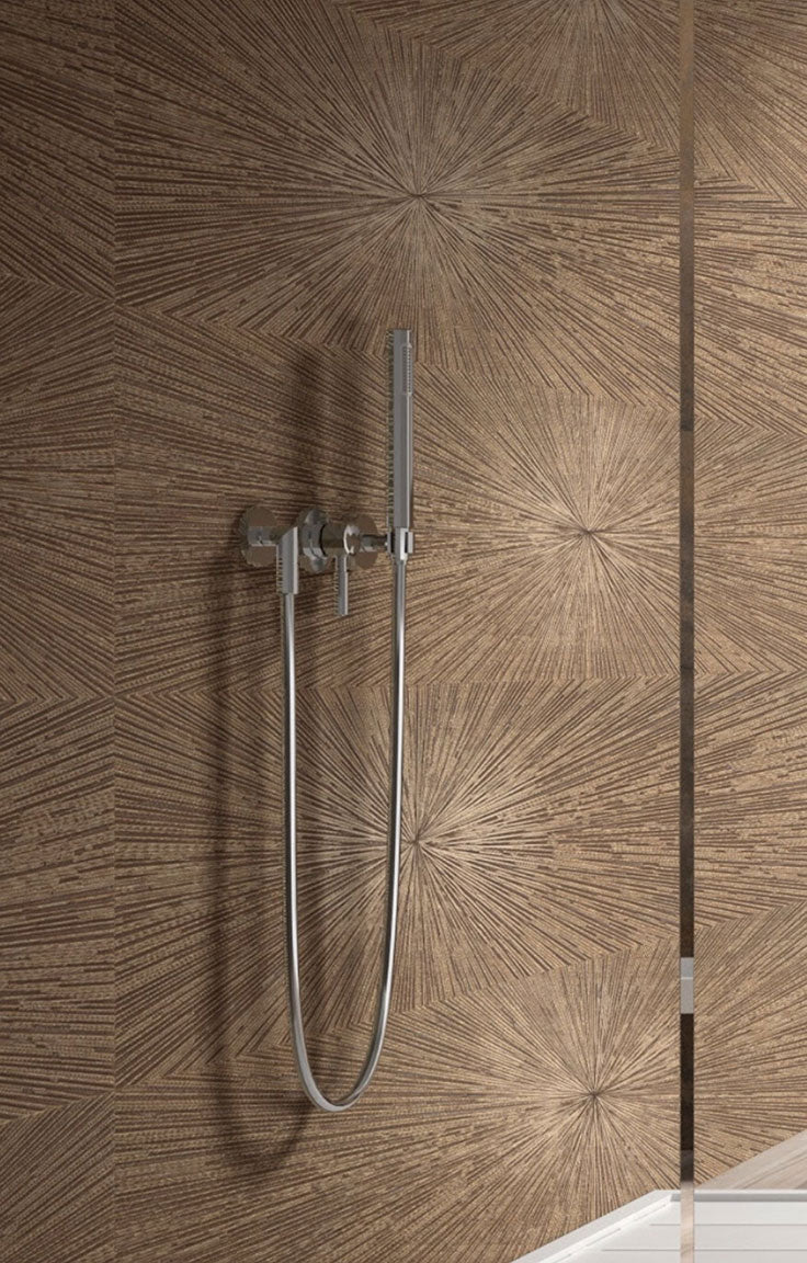 Copper Finish Modern 3D Textured Tile for a Minimalist Shower Wall