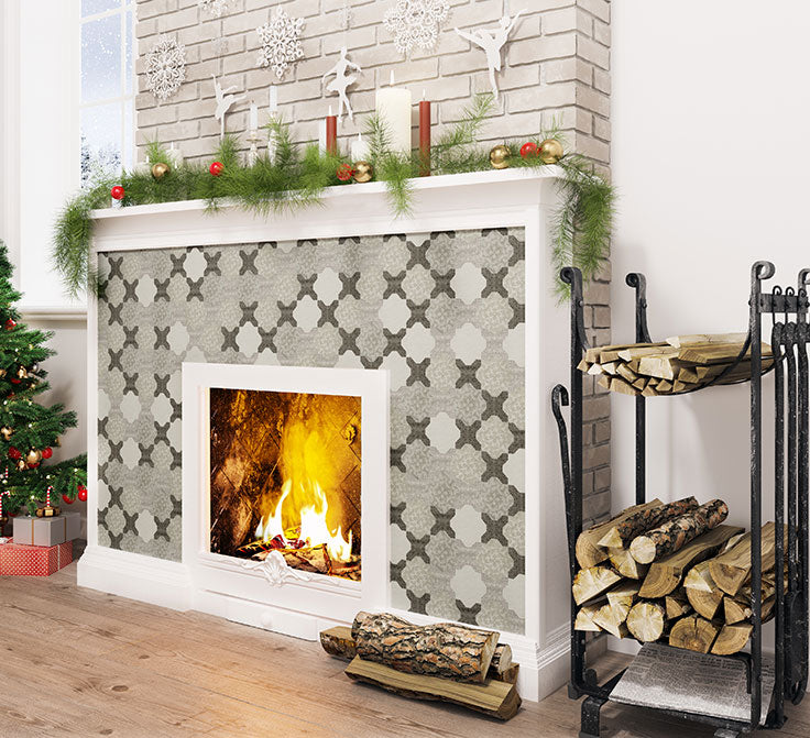 Star and Cross Etched Marble Tile Fireplace with Paper Snowflake Details for the Holidays