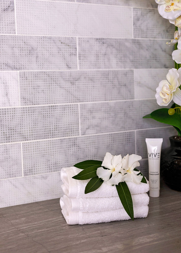 Etched Marble Subway Tiles are a Trending Twist on a Classic Bathroom Tile Design