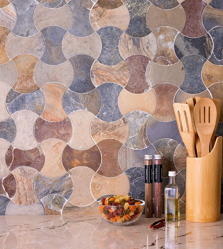 Natural Stone Slate Tiles add Natural Color to a Tuscan Kitchen or Coastal Bathroom