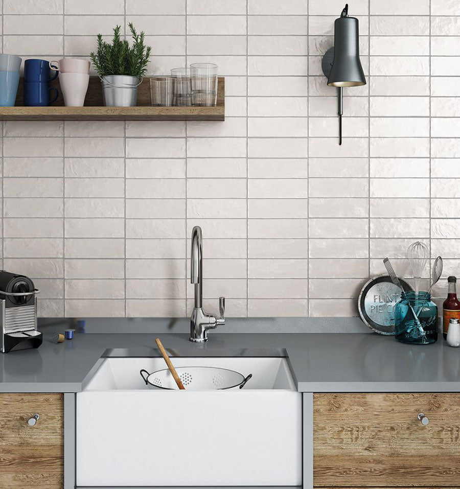 White ceramic subway tiles are still a must-have for classic interior design! You can go for the simple and clean style or add a textured look with zellige-style tiles like our Mallorca White if you want to mix things up!