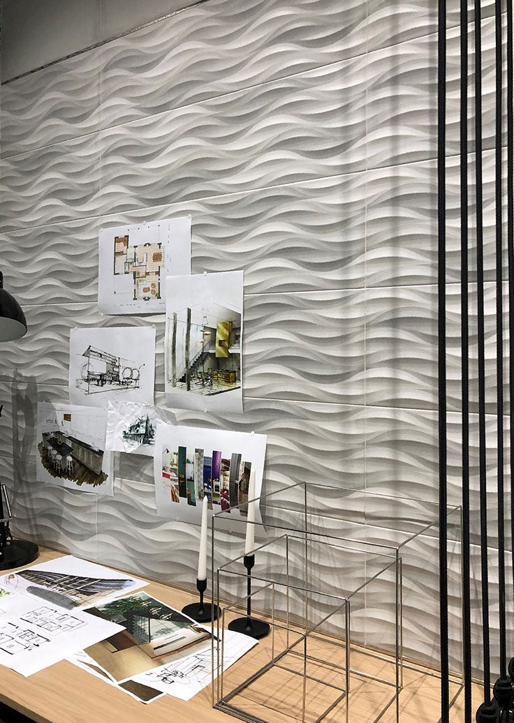Modern Wall Art with Textural Wave Tiles for a Feature Wall Installation