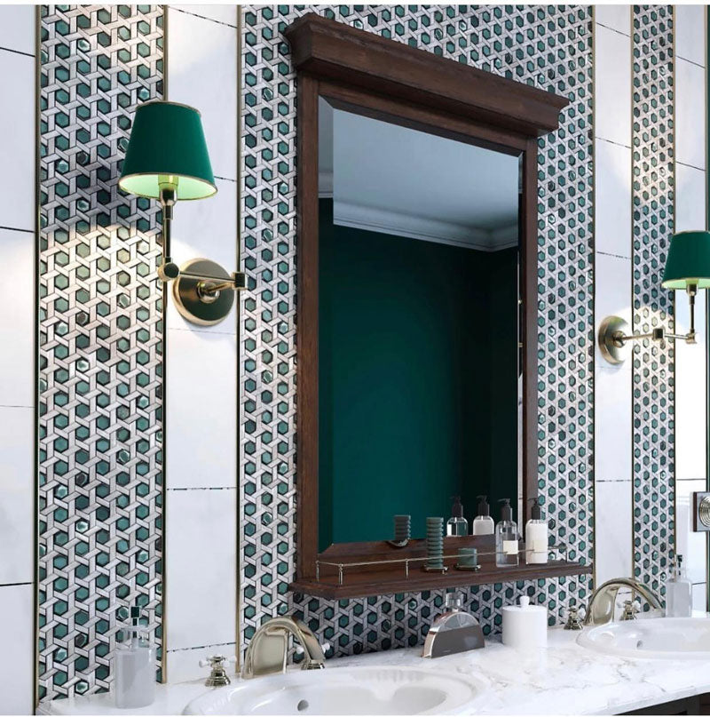 Vintage Farmhouse Bathroom with White Emerald Weaved Hexagon Glass Mosaic Tile Framing the Vanity
