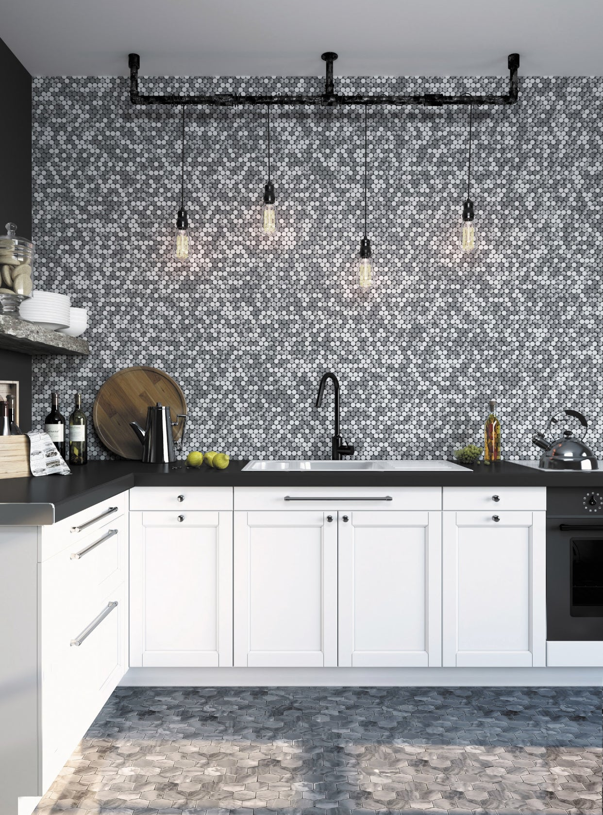 Who doesn't love a penny round tile backsplash? This Bardiglio & Carrara Penny Rounds Polished Marble Mosaic Tile combines a classic design with a quick kitchen refresh!