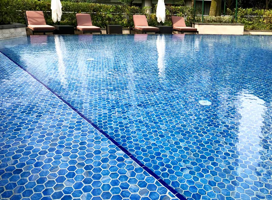 Blue Inlaid Glass Hexagon Pool Tiles
