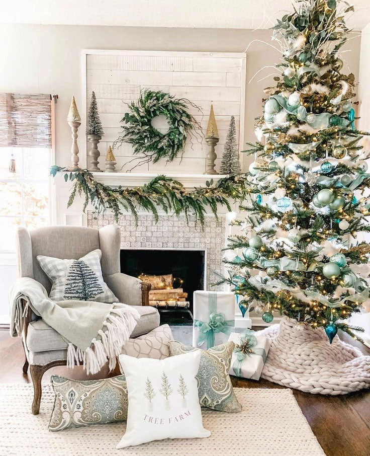 Blue and Green Coastal Christmas Decorating Ideas with Etched Mosaic Tile Fireplace Facing