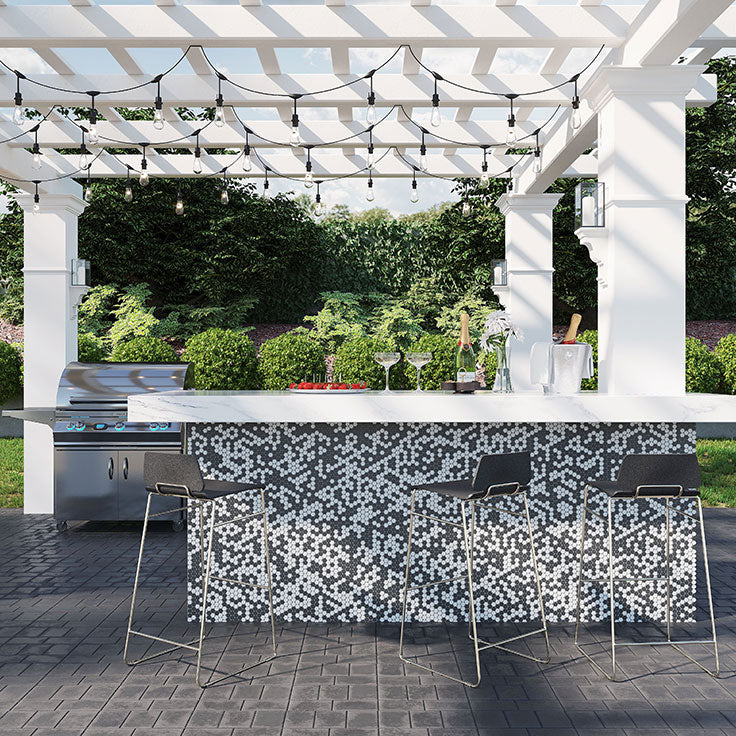 Pergola over an Outdoor Kitchen Island with Black and White Marble Penny Round Tiles for Summer Entertaining