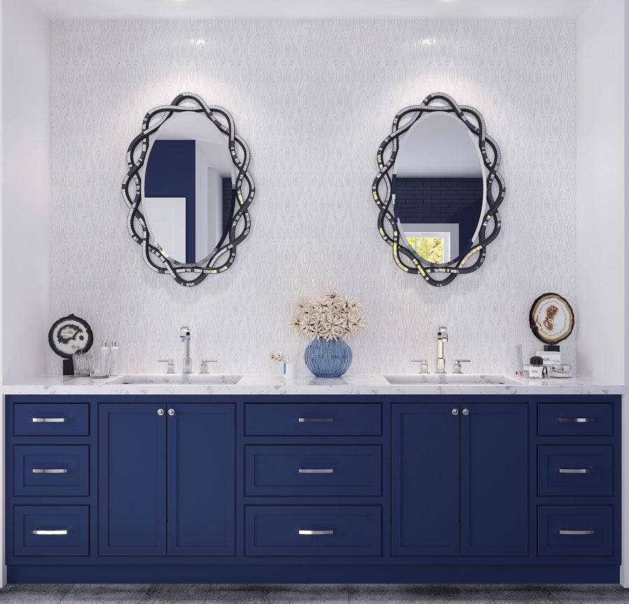 Luxury Master Bathroom Design with White Marble and Mother of Pearl Tile Vanity Wall