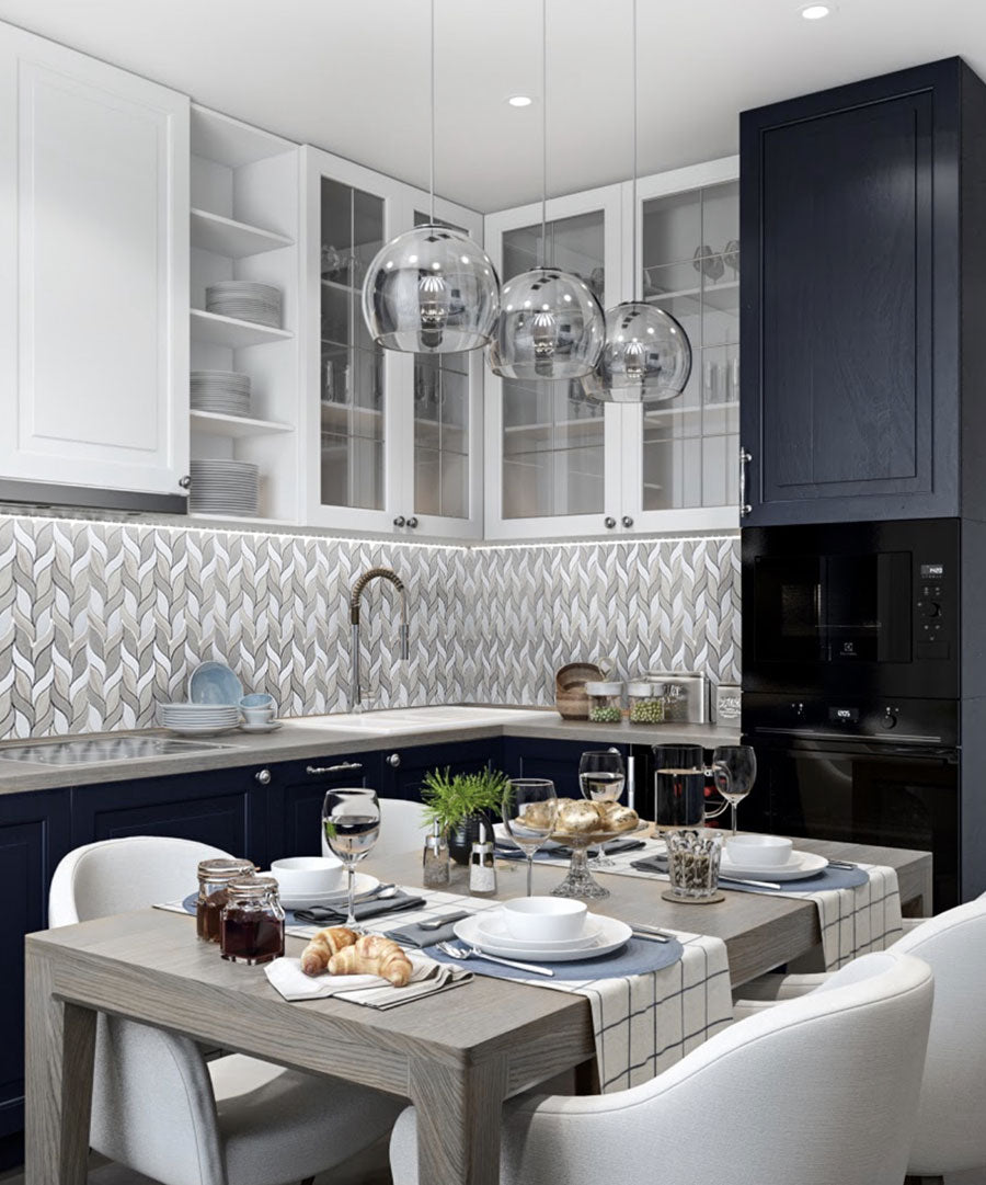 Adding a Patterned Backsplash without Crowding a Small Kitchen - the Key is Keeping Colors Unified and Using Tiles that Create Movement