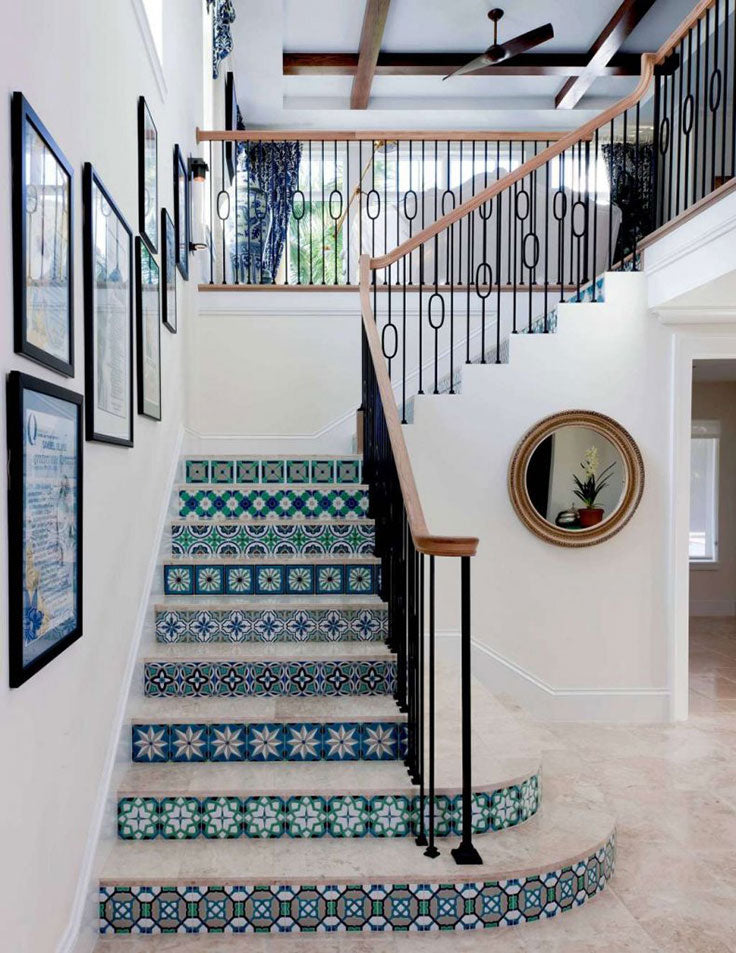 Blue and white Grecian-inspired staircase with Mediterranean Interior style