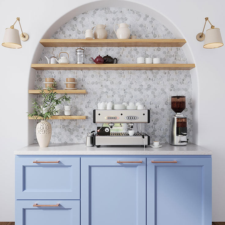 Home Espresso Bar Nook and Coffee Station with Floating Shelves and Textured Marble Backsplash