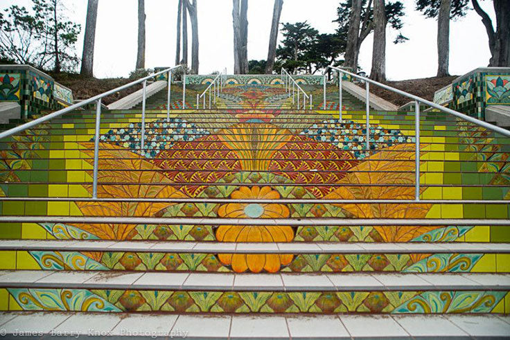 This amazing mosaic tile staircase in San Francisco is just the beginning when it comes to how you can dress up your stairs!