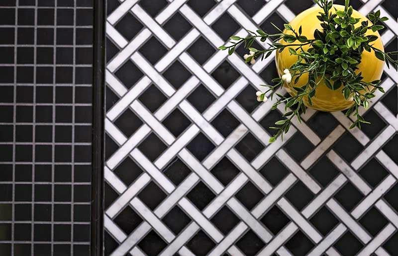 Black and White Marble Basket Weave Tile for Bathroom Floors and Walls