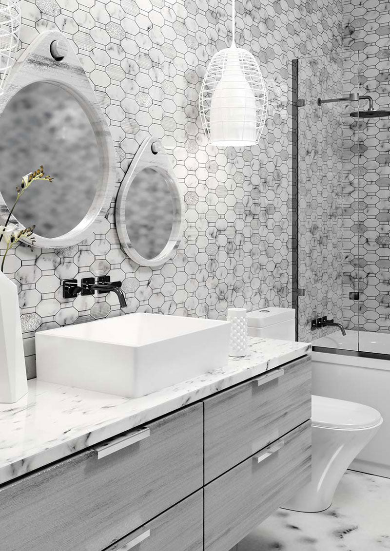 Textured Elongated Carrara Hexagon Marble Mosaic Tile Bathroom and Shower Wall