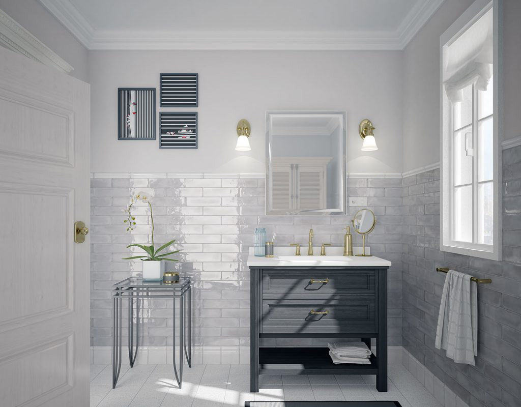 You can recreate the look and feel of this serene bathroom with our La Lavanda ceramic subway tile for a cloudy blue palette with a hint of sheen!