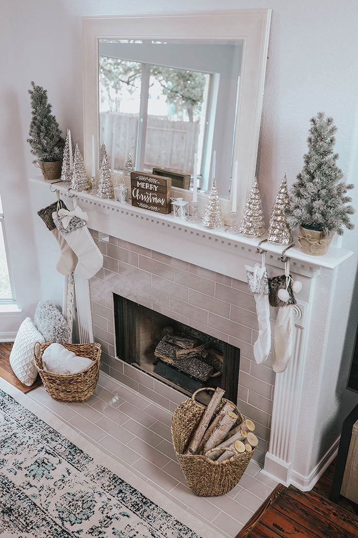 Ceramic Subway Tile Fireplace Design Ideas with Cozy Christmas Decorating