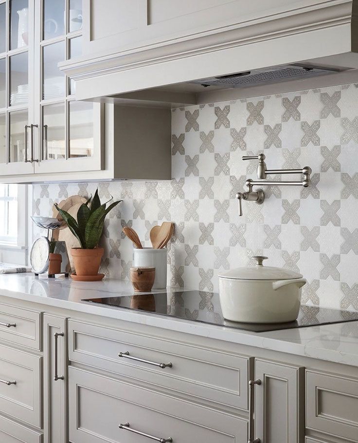 Moroccan Tile Meets Traditional Home with a Patterned Marble Tile Backsplash