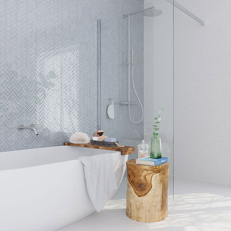 Gray Glass Herringbone Tiles for a Free Standing Tub Surround and Separate Shower