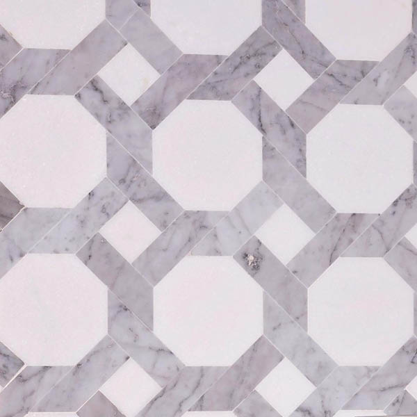 White and Gray Weaved Marble Mosaic Tile