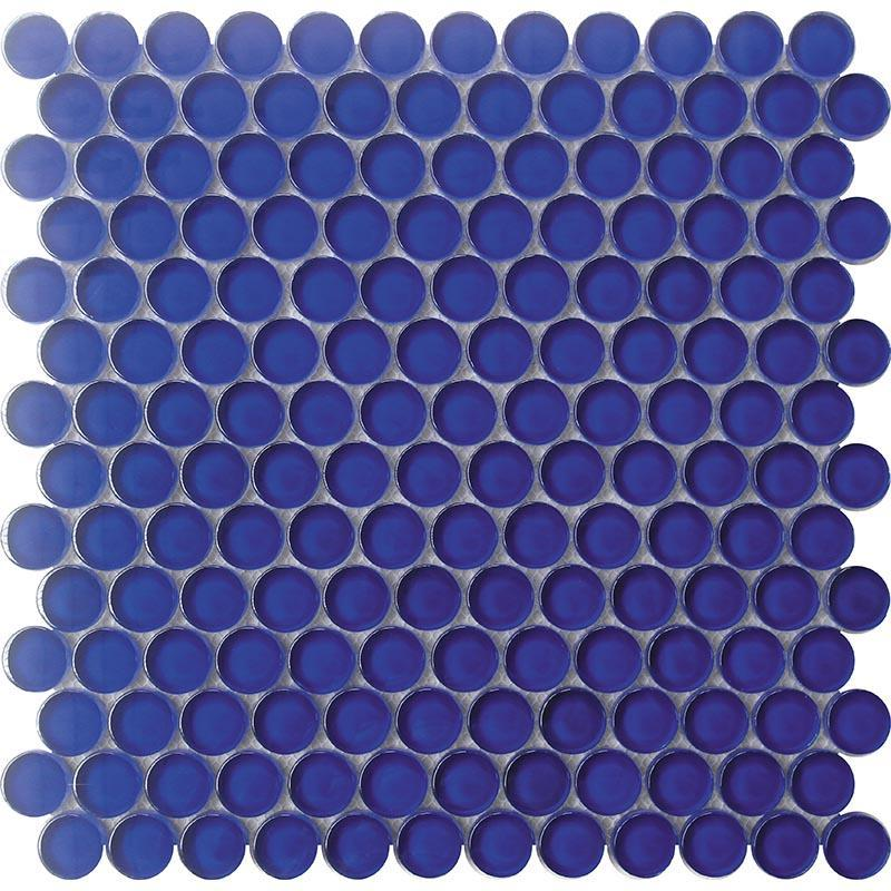 Cobalt Blue Penny Round Mosaic Tile for Pools, Walls, Floors