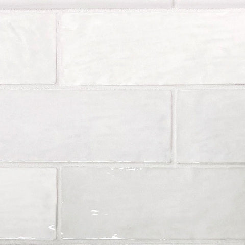Zellige White Ceramic Subway Tiles for a Living Room Fireplace