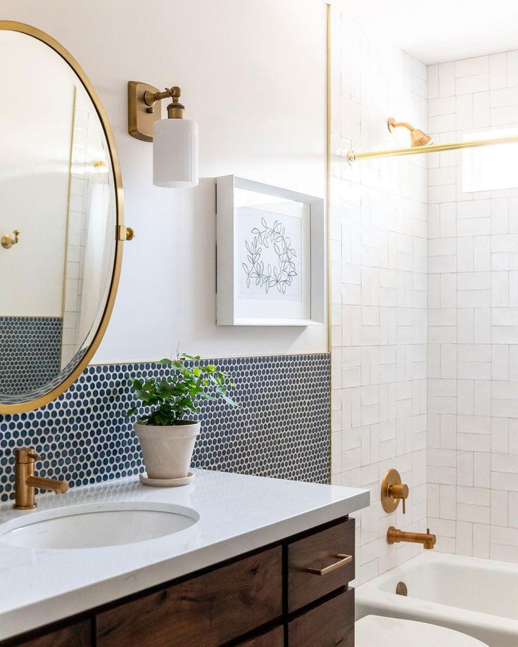 Mixing Tiles for a Modern Minimalist Bathroom with Penny Rounds and Ceramic Subway Tiles by House of Jade