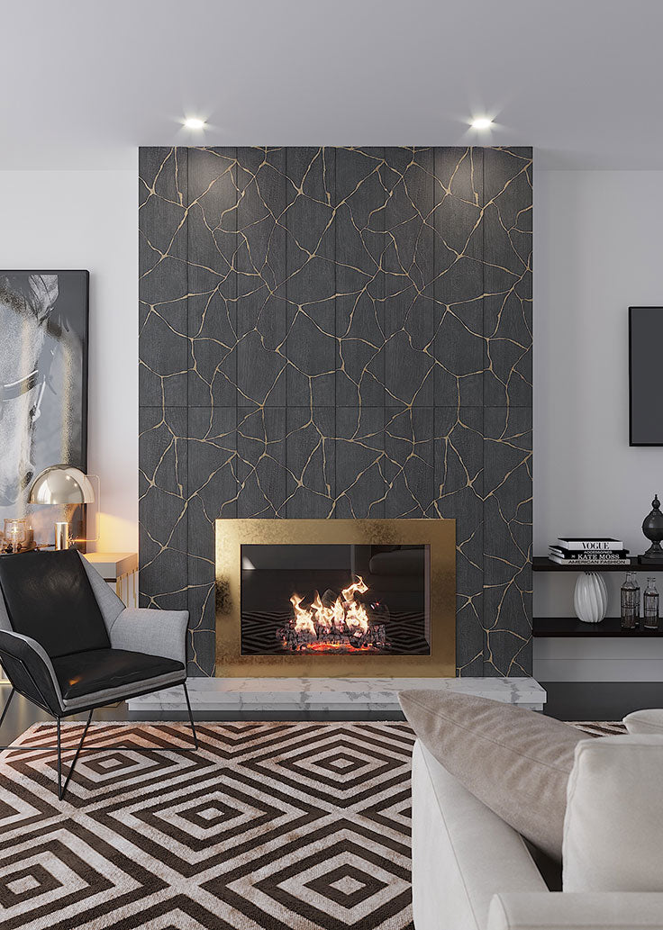 Fireplace featuring the Kasai Notte Kintsugi Porcelain tile, a design inspired by Japanese Art.