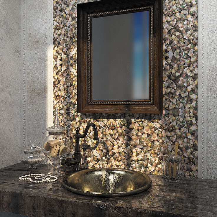 Earthy Jewel Tone Bathroom Tile with Topaz Pearl Notes