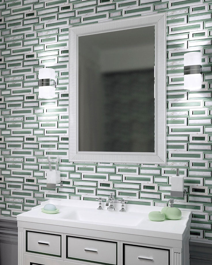 Go Green with this Trending Marble and Glass Brick Tile Bathroom Wall
