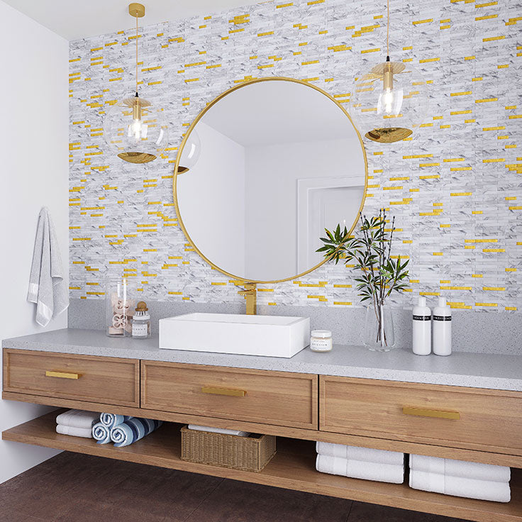 White and Gold Decorative Wall Tiles you can Peel and Stick