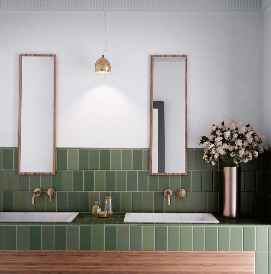 Matte Green and Copper Bathroom Design with Subway Tiles