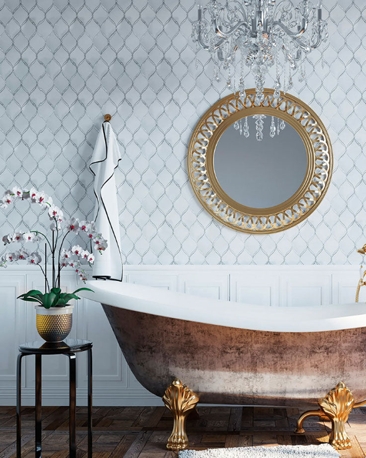 Luxury Bathroom with a Claw Foot Tub and White Marble Wall Tiles