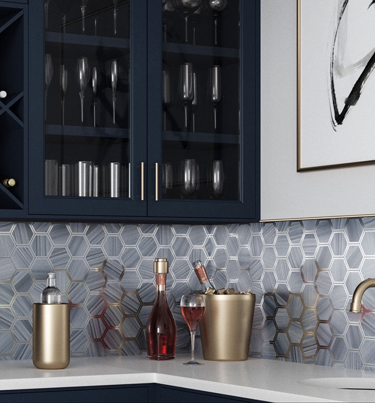 Opal Marbled Glass Hexagon Mosaic Tile are easy to wipe clean, making them a perfect low-maintenance backsplash option for bars, kitchens, and bathrooms!
