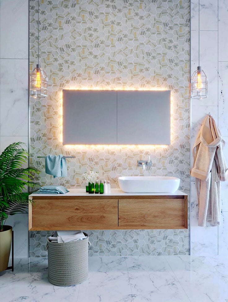 Top 5 Home Bathroom Remodeling Ideas for 2021 - Floating Vanity and Hexagon Wall Tiles