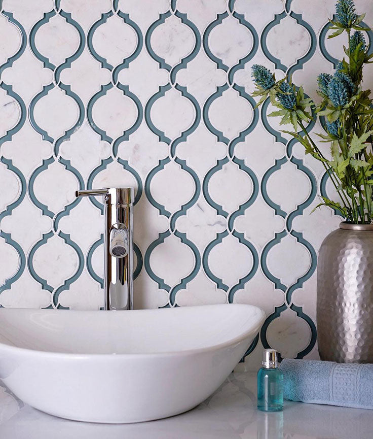 White Marble and Green Glass Mosaic Tile